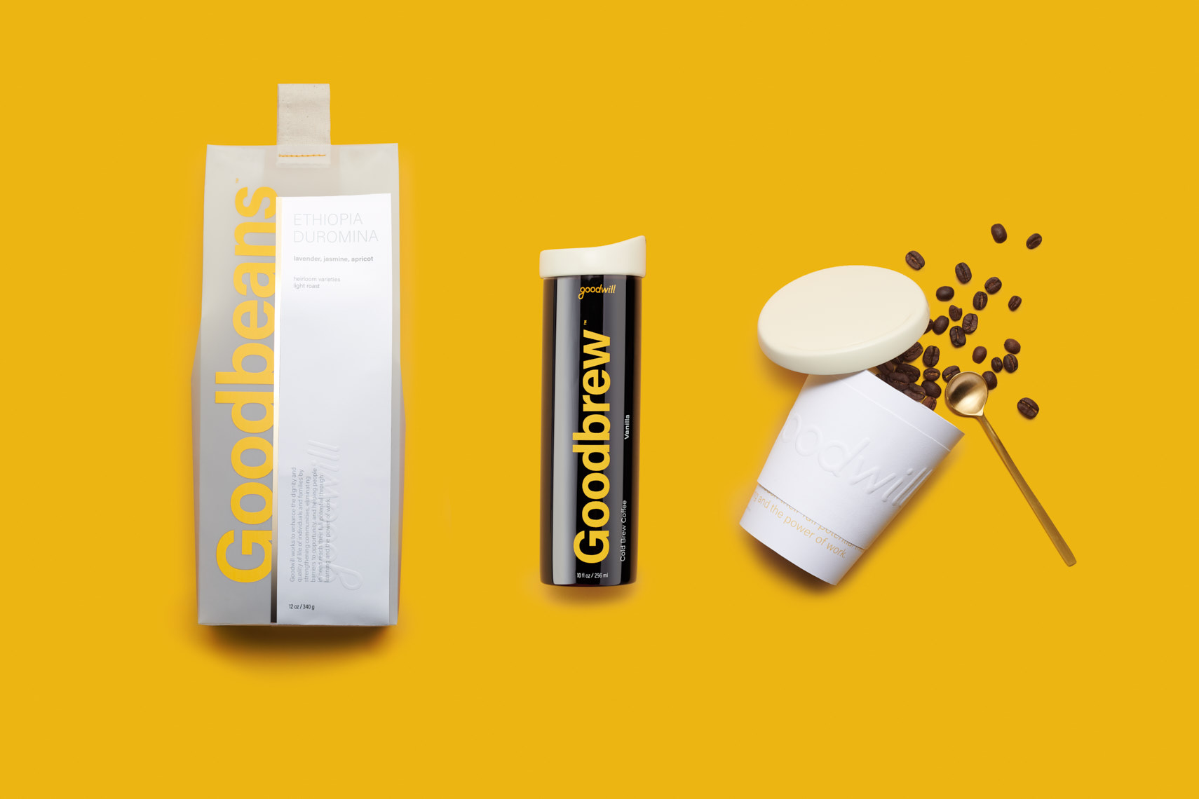 Goodbeans Packaging design on a yellow background | Charlie Sin Photography  | Product Photography